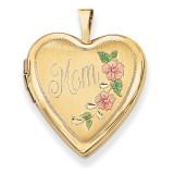 20mm Enamel Flowers Mom Heart Locket 14k Gold XL612
