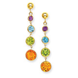 Muti-Gemstone Dangle Post Earrings 14k Gold YE1376
