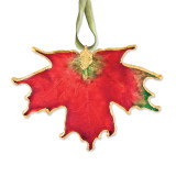 Deep Red Sugar Maple Decorative Leaf Lacquer Dipped 24k Gold Trimmed GM3851