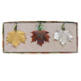 Iridescent Copper Dipped Maple Leaves Set 24k Silver Dipped GM3918