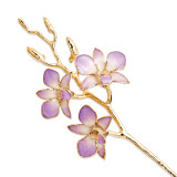 Lilac & White Orchid Stem Laquer Dipped Gold Trimmed GM8313