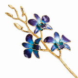 Purple Blue Orchid Stem Lacquer Dipped Gold Trimmed GM8315