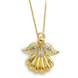 Angel of Remembrance 18 Inch Necklace Sterling Silver & Gold-plated with Diamonds QSX158