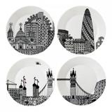 Royal Doulton Charlene Mullen London Calling Plates 8.6 Inch Set of 4