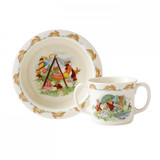 Royal Doulton Classic Nurseryware 2-Piece Baby Set Bowl, Two Handled Mug