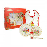 Royal Doulton Melamine Nurseryware 5 Piece Set Bowl, Cup, Plate, Spoon, Bib