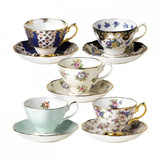 Royal Albert 100 Years 1900-1940  10-Piece Teacup & Saucer Set Regency, Duchess, Spring Meadow, Polka Rose English Chintz
