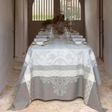 Le Jacquard Francais Azulejos Grey Tablecloth 69 x 98 Inch