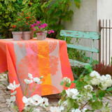 Le Jacquard Francais Fleurs Gourmandes Enduite Peach Coated tablecloth 69 x 69 Inch