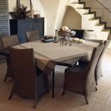 Le Jacquard Francais Provence Enduite Beige Coated tablecloth 69 x 69 Inch