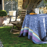 Le Jacquard Francais Provence Enduite Lavender blue Coated tablecloth 69 x 98 Inch
