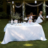 Le Jacquard Francais Siena Blanc White Tablecloth 69 x 98 Inch