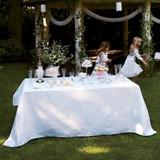 Le Jacquard Francais Siena Blanc White Tablecloth 69 x 126 Inch