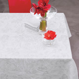 Le Jacquard Francais Tivoli White Tablecloth 94 Inch