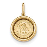 St Christopher Medal Pendant 14k Yellow Gold Polished and Satin K5662
