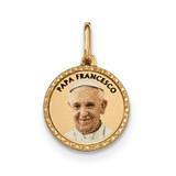 Printed Papa Francesco Medal Pendant 14k Gold Polished K5689
