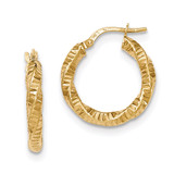 Hoop Earrings 14k Gold Twisted Textured  TH725