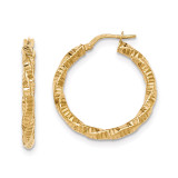 Hoop Earrings 14k Gold Twisted Textured  TH727