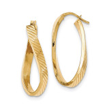 Oval Hoop Earrings 14k Gold Twisted Textured  TH731