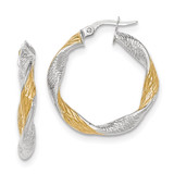 Twisted Hoop Earrings 14k White Gold with Yellow Rhodium Textured TH737
