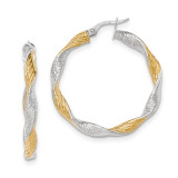 Twisted Hoop Earrings 14k White Gold with Yellow Rhodium Textured TH738