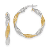 Twisted Hoop Earrings 14k White Gold with Yellow Rhodium Textured TH739