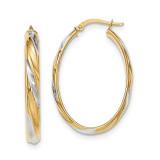 Polished 4.1mm Hoop Earrings 14k Gold & Rhodium TH741