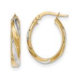 Polished 4.1mm Hoop Earrings 14k Gold & Rhodium TH742