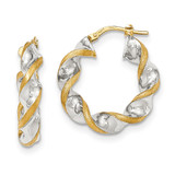 Polished and Satin Twisted Hoop Earrings 14k Gold & Rhodium TH745