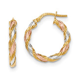 Twisted Hoop Earrings 14k Gold with White & Rose Rhodium Textured TH746