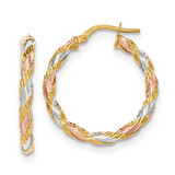 Twisted Hoop Earrings 14k Gold with White & Rose Rhodium Textured TH747