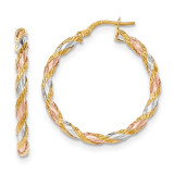 Twisted Hoop Earrings 14k Gold with White & Rose Rhodium Textured TH748