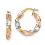 White & Rose Rhodium Polished Satin Twisted Hoop Earrings 14k Gold TH749