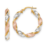 White & Rose Rhodium Polished Satin Twisted Hoop Earrings 14k Gold TH750