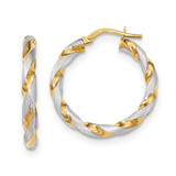 Polished and Satin Twisted Hoop Earrings 14k Gold & Rhodium TH752