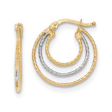 Hoop Earrings 14k Two-tone Gold Diamond-cut TH763