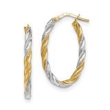 Twisted Oval Hoop Earrings 14k Gold & Rhodium TH765