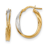 Polished and Satin Twisted Oval Hoop Earrings 14k Gold & Rhodium TH766