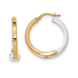 Overlapping Square Tube Hoop Earrings 14k Two-tone Gold TH772