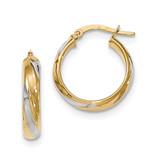 Polished 4.1mm Hoop Earrings 14k Gold & Rhodium TH773
