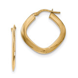 Tapered Square Hoop Earrings 14k Gold TH775