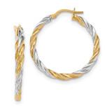 Twisted Hoop Earrings 14k Gold & Rhodium TH782