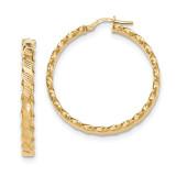 Scalloped Edge Hoop Earrings 14k Gold Textured TH783