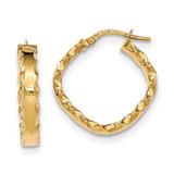 Scalloped Edge Square Hoop Earrings 14k Gold TH794