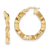 Textured Hoop Earrings 14k Gold Polished TH796