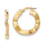 Hoop Earrings 14k Gold Polished and Textured TH798