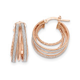 Textured Hoop Earrings 14k Rose Gold Polished Glitter Infused TH804