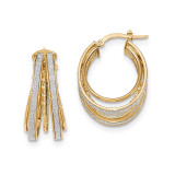 Small Oval Hoop Earrings 14k Gold Polished Glitter Infused TH805