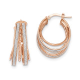 Small Oval Hoop Earrings 14k Rose Gold Polished Glitter Infused TH807