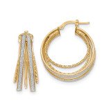 Round Hoop Earrings 14k Gold Polished Glitter Infused TH808